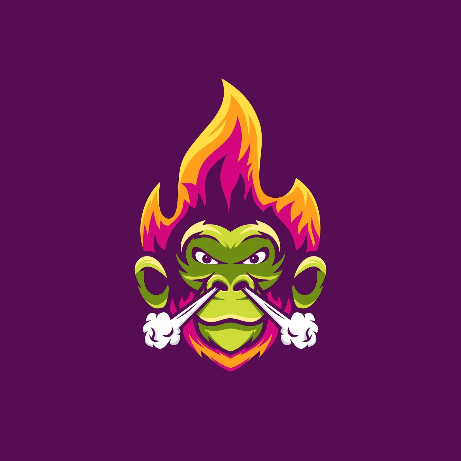 Monkey With Fire Smoke Illustration Awesome Free Download Vector CDR, AI, EPS and PNG Formats
