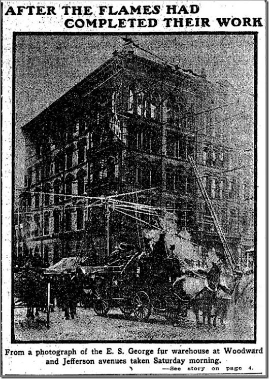 ANCESTORS IN THE NEWS ~ Patrolman William Patrick Hayes Discovers Huge Warehouse Fire–Detroit Free Press - 1907