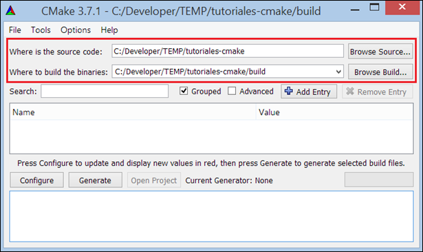 tutorial cmake gui