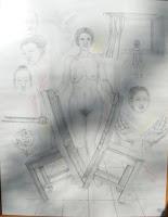 'Geschichte der Aufhebung', Bleistiftzeichnung, 100x70, 1998