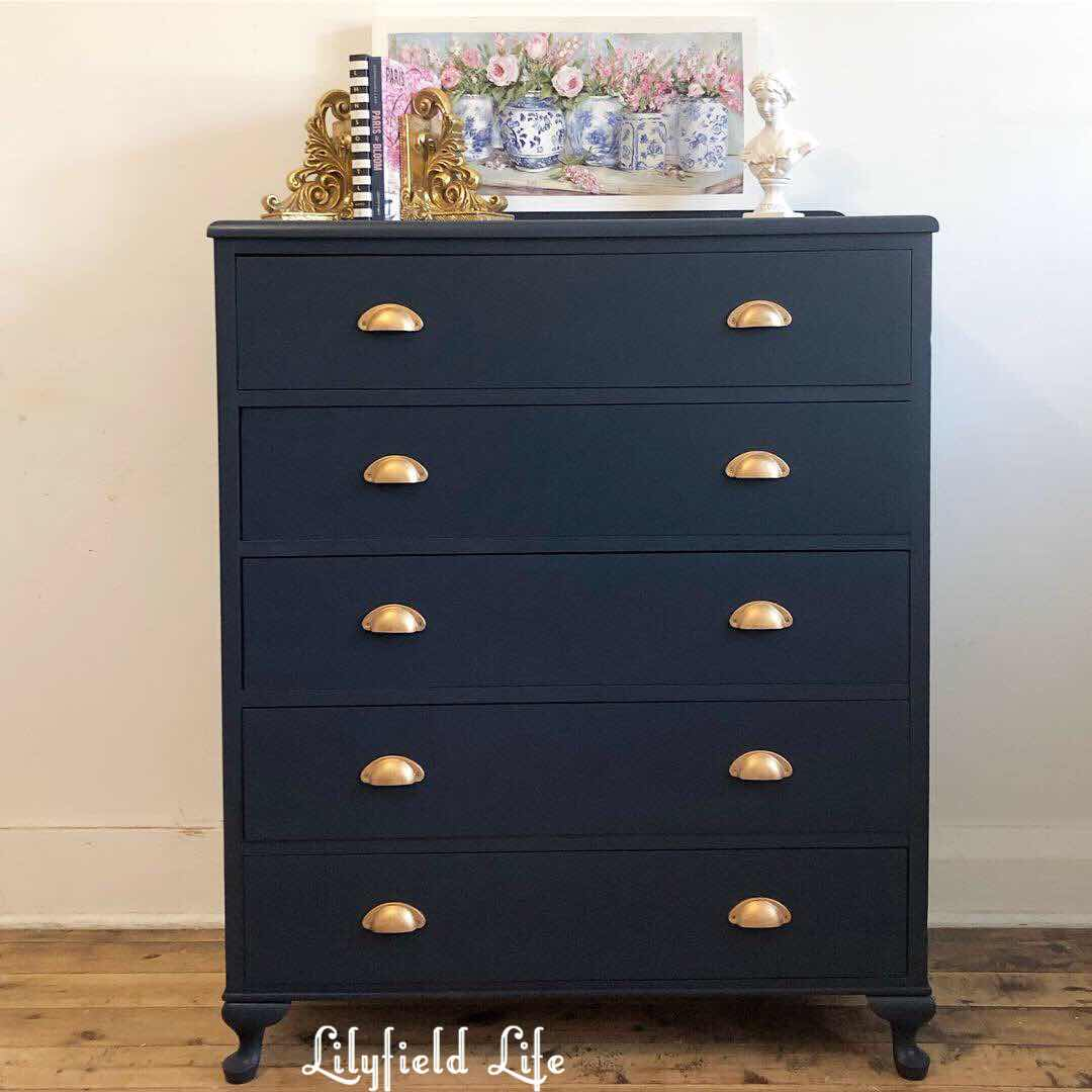 """ Fusion Mineral Paint Midnight Blue Drawers lilyfield life"