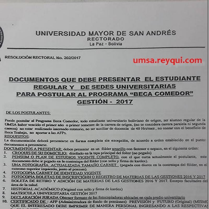"""UMSA: Requisitos para """"Beca Comedor"""" Gestión 2017 para ESTUDIANTES REGULARES Y DE SEDES"""