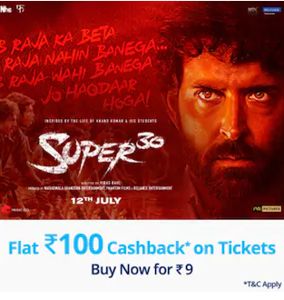 Paytm - Get Rs 100 Cashback on SUPER30 Movie Booking
