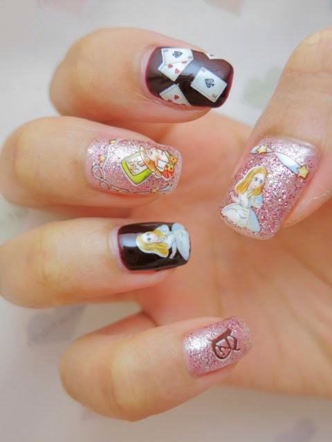 Alice in Wonderland Water Decal Nail Art BLE2072