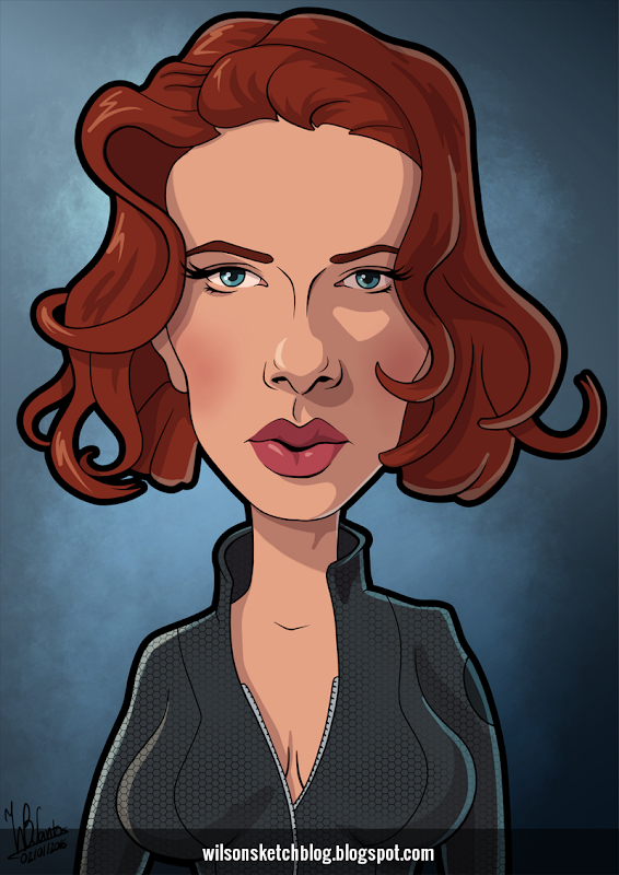 Cartoon caricature of Scarlett Johansson as the Black Widow.