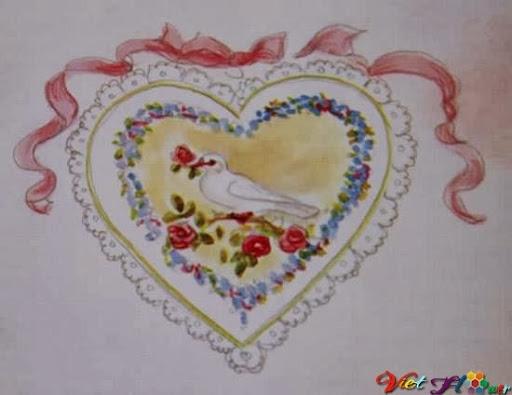 Thiệp trái tim và hoa hồng