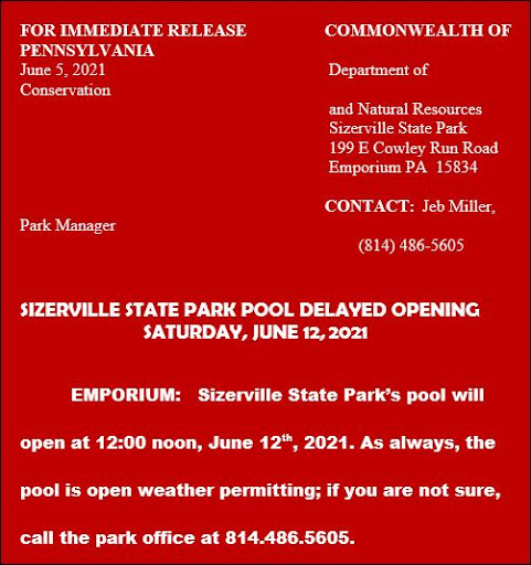 6-12 Delayed Opening, Sizerville Pool