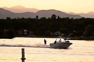 Photo: Water skiing at dusk on Sloan's Lake, Denver.