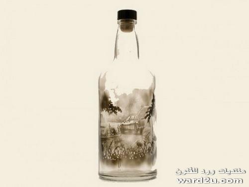 دخان شموع و اجمل رسومات على الزجاجات Jim Dingilian