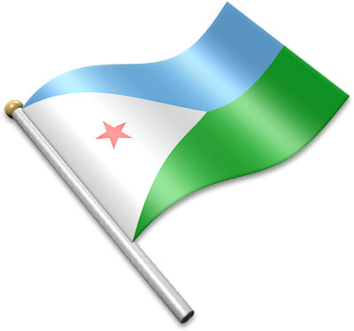 The Djiboutian flag on a flagpole clipart image
