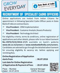 SBI Specialist Cadre Officers 2016 www.indgovtjobs.in