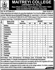 Maitreyi College Faculty Recruitment 2017 www.indgovtjobs.in