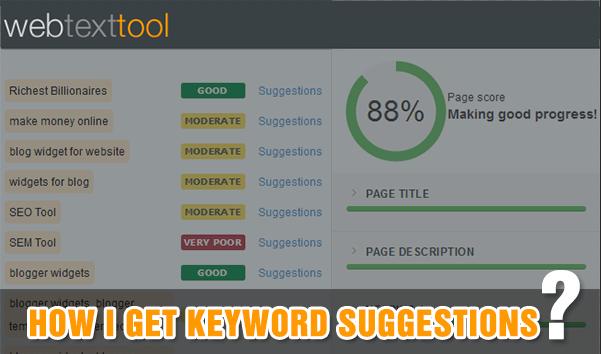 WebTextTool keyword suggestion tool