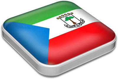 Flag of Equatorial Guinea with metallic square frame