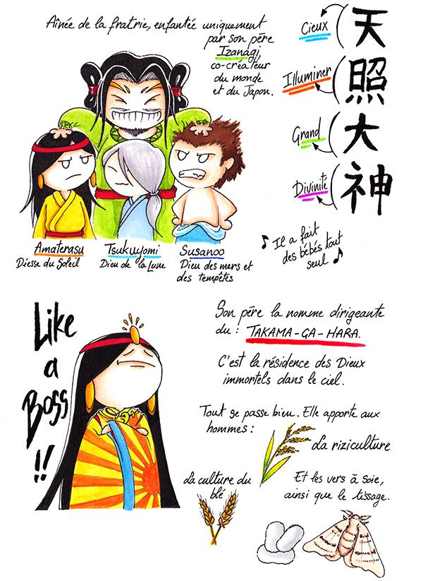 Amaterasu est la fille de Izanagi. Ses frères sont Tsukuyomi et Susanoo. Elle dirige le Takama-ga-hara, la résidence des Dieux immortels.