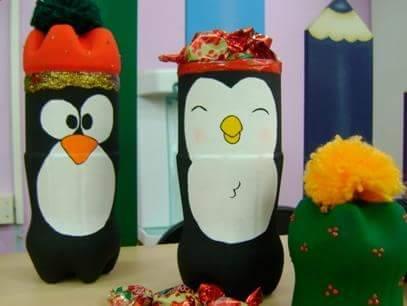 Mi fiesta creativa manualidades navide as con botellas de for Manualidades navidenas preescolar