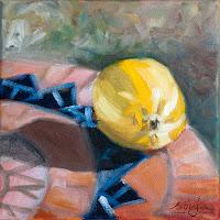 """Zitrone auf Terrakotta-Mosaik"" 20x20cm Öl auf Leinwand"