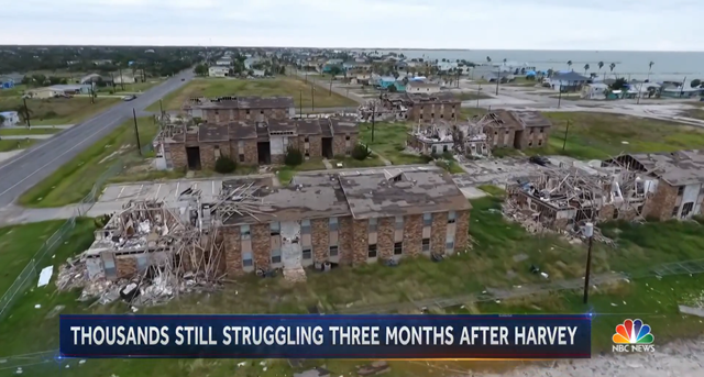 Aerial view of homes on the outskirts of Houston, three months after being destroyed by Hurricane Harvey, 24 November 2017. Photo: NBC News