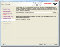 Oracle Grid Infrastructure 12c Installer - Create Inventory