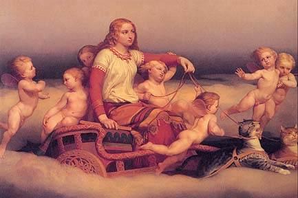 Freya With Flying Babies, Asatru Gods And Heroes