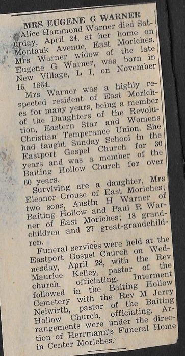 Warner Alice Hammond obit 1954