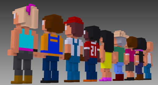 MagicaVoxel voxel people rear