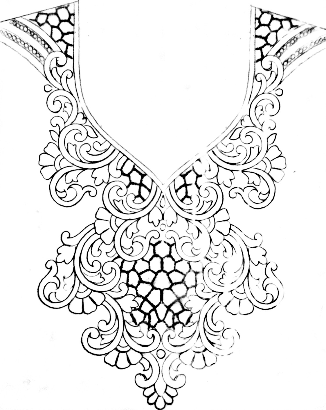 Drawing with pencil emroidery blouse neck design/new embrodiary design patterns sketch for Kurt neck