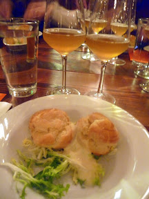 Block 15 Vintage Draught Dinner and Pairing Saraveza Crab Stuffed Profiteroles on a bed of frisee and Pineapple Aioli