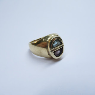 14K Gold, Amethyst and Aquamarine Ring