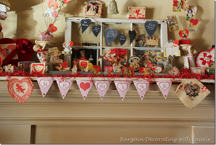 Vaentine's Mantel Garland and Vintage paper napkins