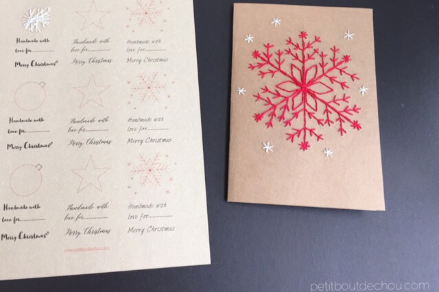 DIY christmas craft card embroidery snowflake and gift tags printable