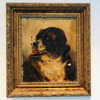 Antique Dog Oil Portrait Painting