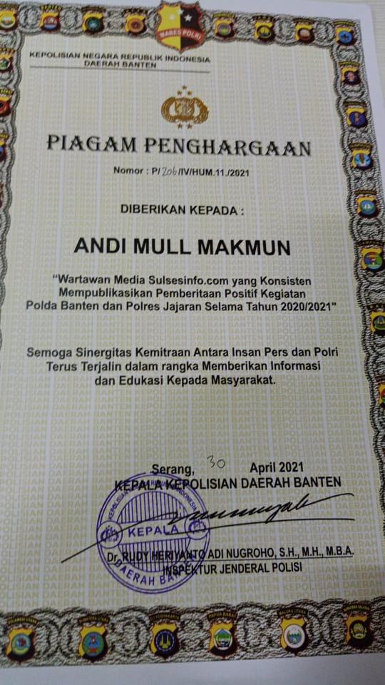 Ketua IWO Soppeng,Andi Mull Makmun Raih Penghargaan Dari Polda Banten