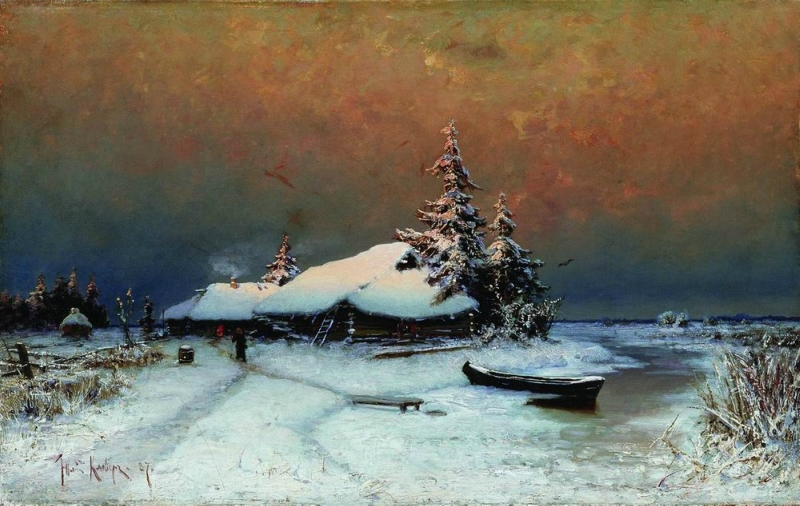Julius Sergius von Klever - Winter sunset. 1887
