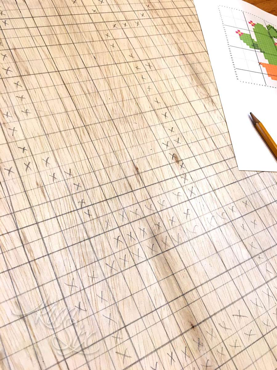 Charting cross stitch pattern on plywood
