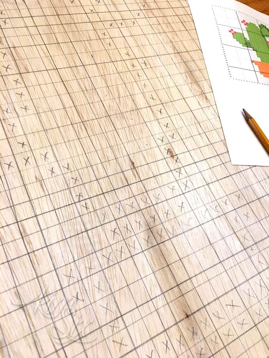 Charting cross stitch pattern on plywood
