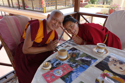 Lama Zopa and Rinpoche enjoying lunch after Long Life Puja at Kopan, April 29, 2013. Photo. Ven. Roger Kunsang.