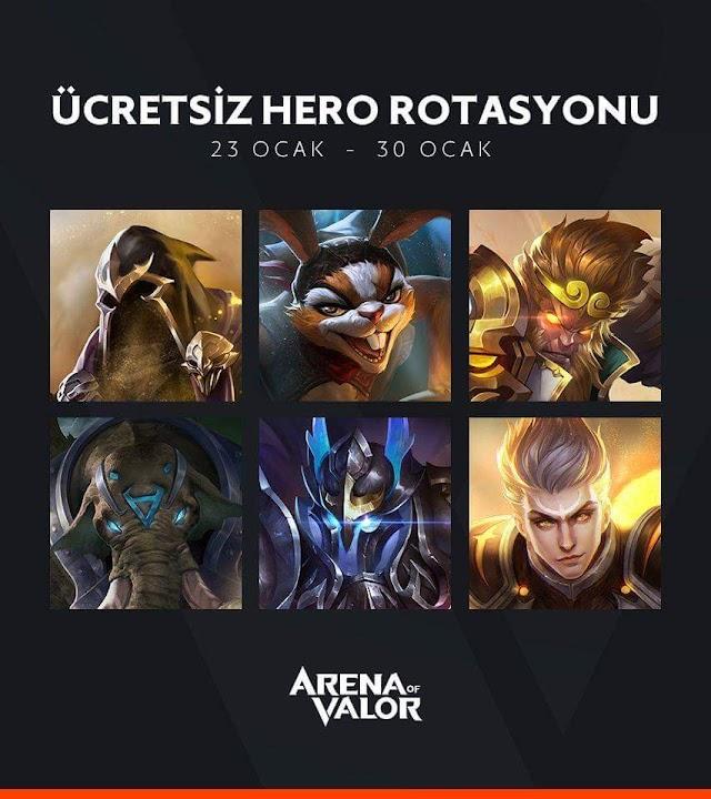 Arena of Valor - 23 Ocak 30 Ocak Ücretsiz Kahramanlar