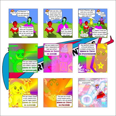 """História em quadrinhos - """"Em busca de um presente""""."""