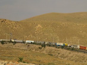 Photo: Day 131 - Long Queue of Trucks Waiting to Get Out of Iran