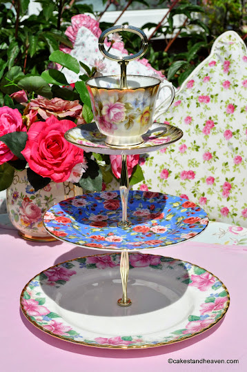 Regal Lady mismatched china 3 tier cake stand