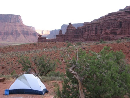 Campsite at the base of Fisher Towers in Utah