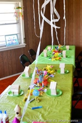 craft table set up for fairy house painting