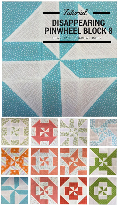 Block 8: Disappearing pinwheel quilt sampler