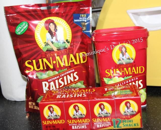 Sun-Maid Raisins in 14.1g packs , 500g canister and 283g resealable packet