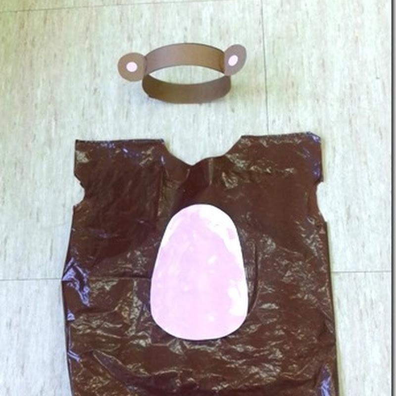Disfraz casero  de mono con bolsa de basura