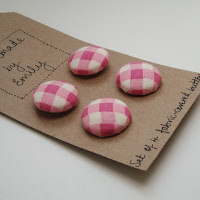 handmade by emily pink white check buttons fabric