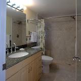 Tile walk-in shower, comfort height toilet, granite on the vanity