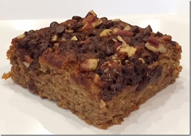 Gluten Free Refined Sugar Free Banana Cinnamon Chocolate Chip Coffee Cake (Vegan)