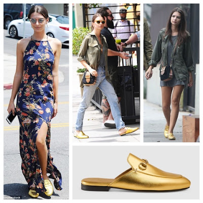 Emily Ratajkowski loves her Gucci Princetown Gold Metallic Leather Backless Loafer Slippers